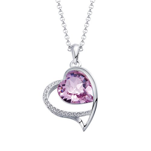 Crystals From Swarovski® | Pink Double Hearts Pendant Necklace