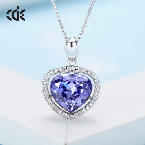 S925 Sterling Silver Blue Crystal Heart Pendant Necklace