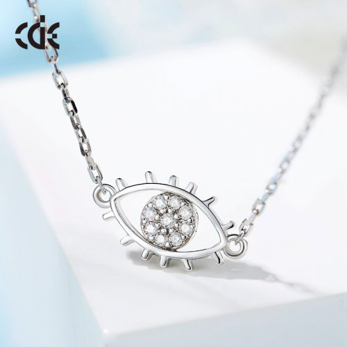 925 Sterling Silver Eye Of Angel Crystal Pendant Necklace