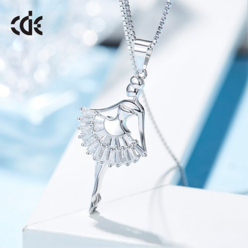 Dangcing Girl Crystal Pendant Necklace