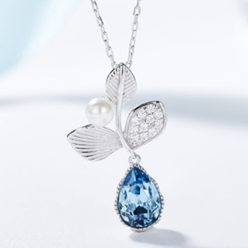 Crystals From Swarovski® | 925 Sterling Silver Swarovski Crystal Teardrop Pendant Necklace
