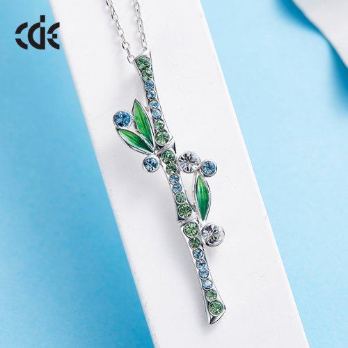 Crystals From Swarovski® | Enamel 925 Sterling Silver Swarovski Green Crystal Bamboo Pendant Necklace