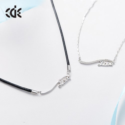 925 Sterling Silver & Leather Couple Love Pendant Necklace