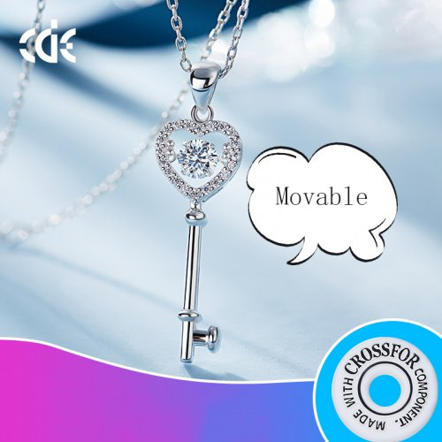 Dancing Stone | S925 Sterling Silver Heart And Key Sparkle Pendant Necklace