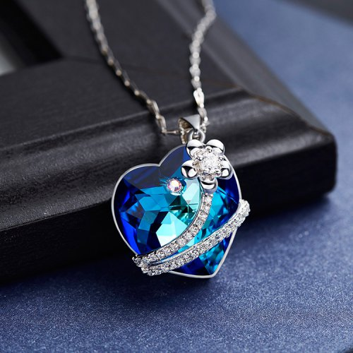 Crystals From Swarovski® | S925 Sterling Silver Blue Heart Pendant Necklac