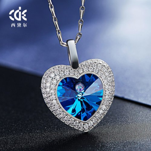 Crystals From Swarovski® | S925 Sterling Silver Blue Crystal Pendant Necklace