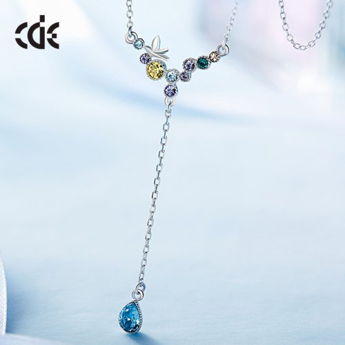 Crystals From Swarovski® | S925 Sterling Silver Multi Color Crystal Happy Bird Pendant Necklace