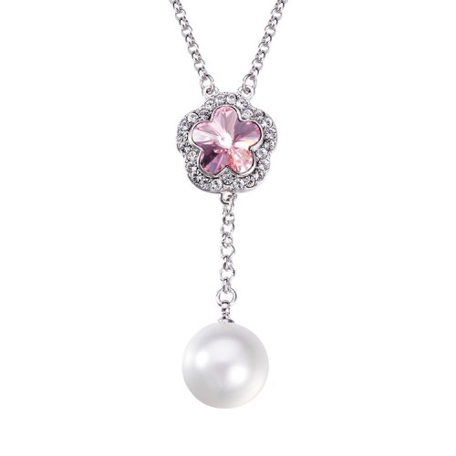 Crystals From Swarovski® | Crystal Plum Blossom With Pearl Pendant Necklace
