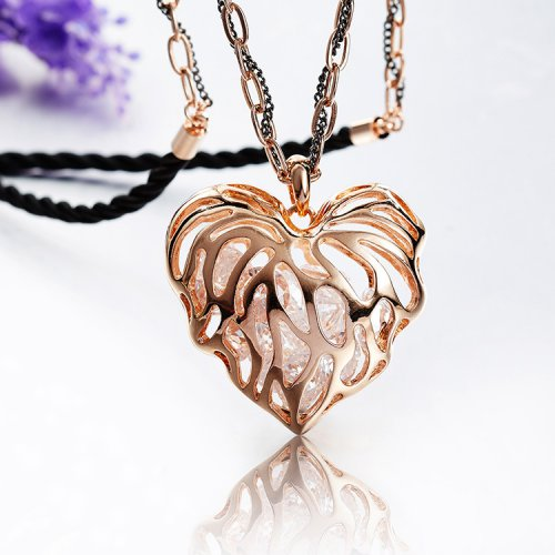 Crystals From Swarovski Rose Gold Heart Pendant Necklace