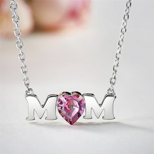 S925 Sterling Silver Mom Pink Heart Ges Pendant Necklace