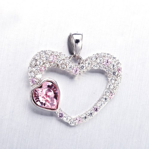 925 Sterling Silver Swarovski Crystal Red Heart Pendant Necklace