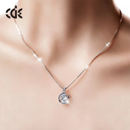 S925 Sterling Silver Simple Rose Crystal Pendant Necklace