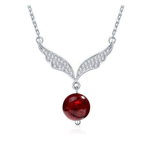 Crystals From Swarovski® | Swarovski Red Crystal Angel Wings Pendant Necklace