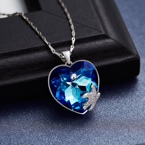 Crystals From Swarovski® | Blue Crystal Heart Pendant Necklace With Starfi