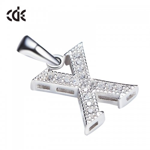 S925 Sterling Silver Simple Letter X Pave Pendant Necklace