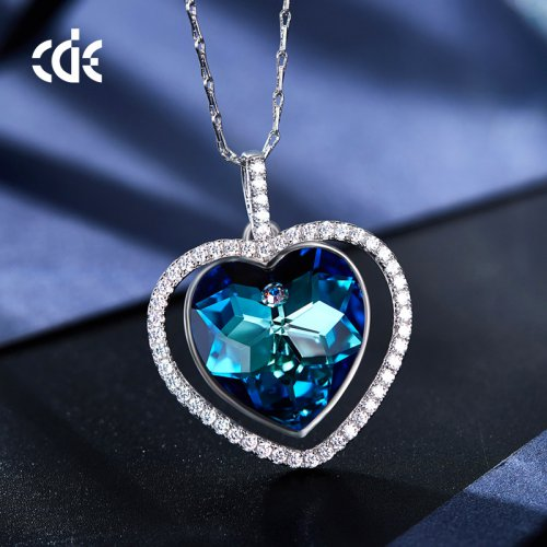 Crystals From Swarovski® | Heart In Circle Pendant Necklace