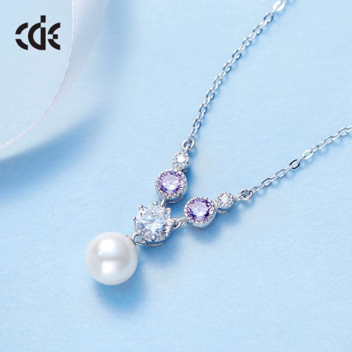 925 Sterling Silver Crystal Pearl Christie Pendant Necklace