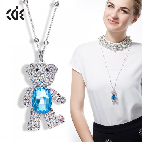 Crystals From Swarovski® | Long Cute Crystal Bear Pendant Sweater Pendant