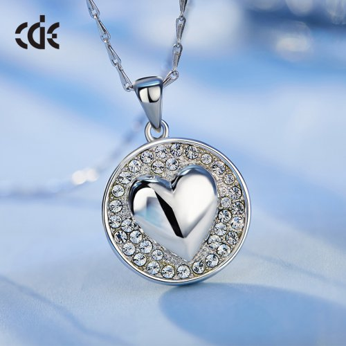 S925 Sterling Silver Crystal Heart In Round Pendant Necklace