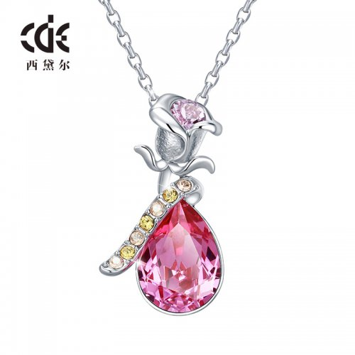 Crystals From Swarovski® | Pink Crystal Rose Pendant Necklace