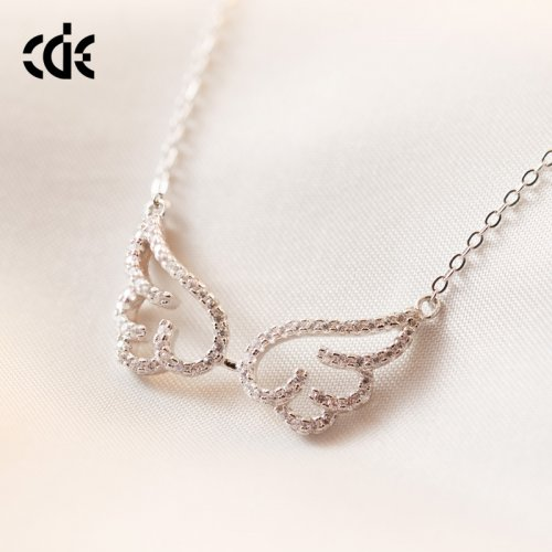 925 Sterling Silver Crystal Angel Wings Pendant Necklace