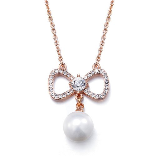 Pearl And Crystal Rose Gold Pendant Necklace
