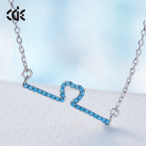 S925 Sterling Silver Turquoise Crystal Bar Pendant Necklace