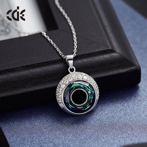 Crystals From Swarovski® | Swarovski Blue Round Crystal Pendant Necklace