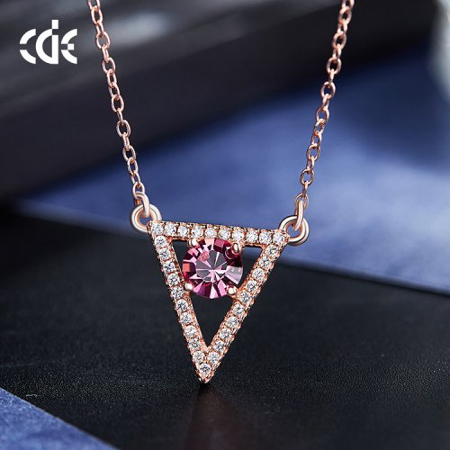 Crystals From Swarovski® | 925 Sterling Silver Rose Gold Delta With Pink Gemstone Pendant Necklace