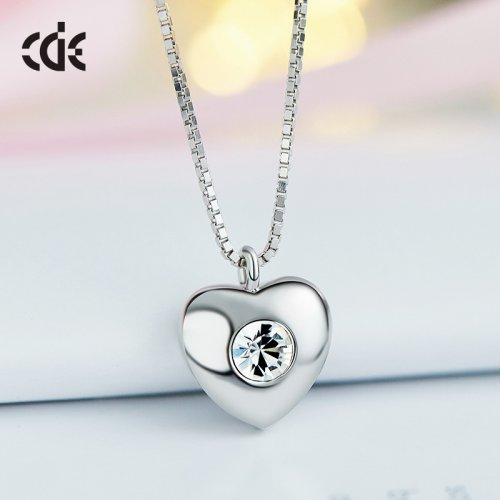 Crystals From Swarovski® | 925 Sterling Silver Crystal Bead Heart Pendant Necklace