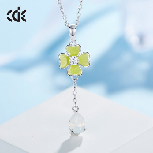 Crystals From Swarovski® | Enamel 925 Sterling Silver Clover With White Crystal Drop Pendant Necklace