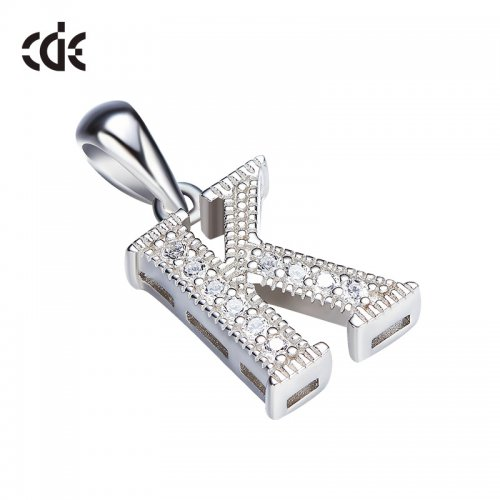 S925 Sterling Silver Simple Letter K Pave Pendant Necklace