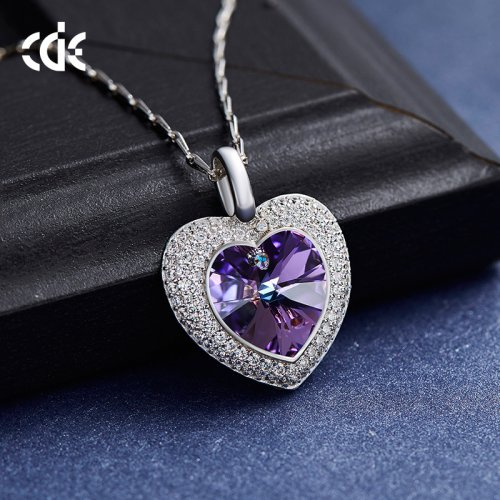 Crystals From Swarovski® | 925 Sterling Silver Purple Crystal Pendant Necklace