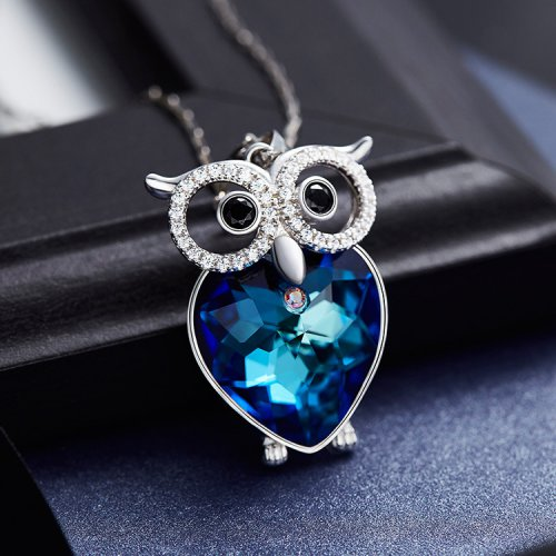 Crystals From Swarovski® | Blue Owl Pendant Necklace