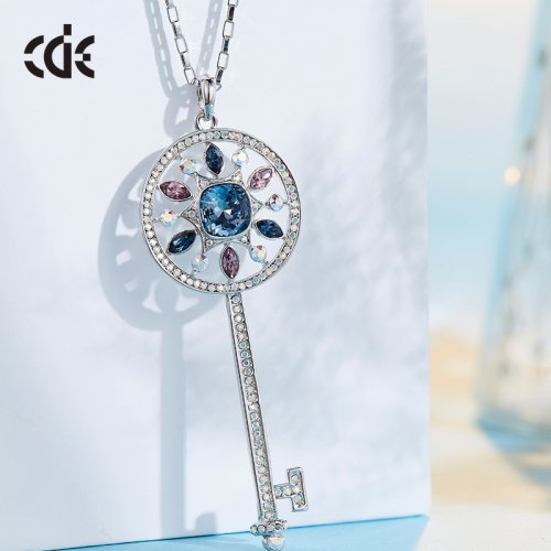 Crystals From Swarovski® | Long Crystal Key Pendant Necklace