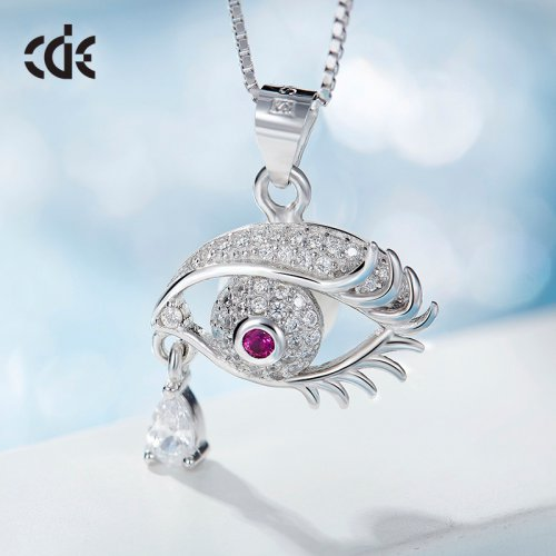 S925 Sterling Silver Purple Crystal Eye Pendant Necklace