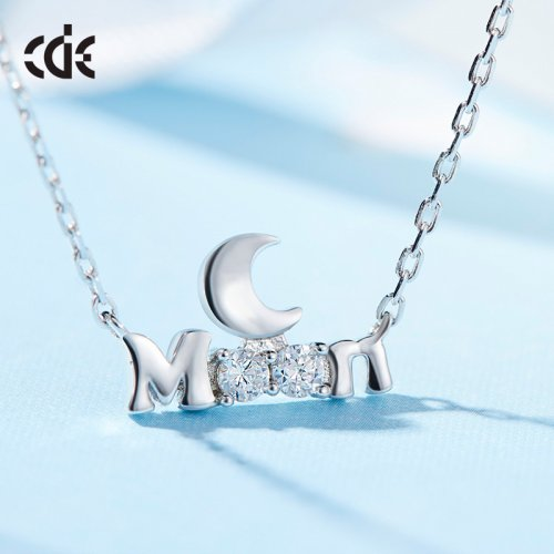 S925 Sterling Silver Swarovski Moon Pendant Necklace