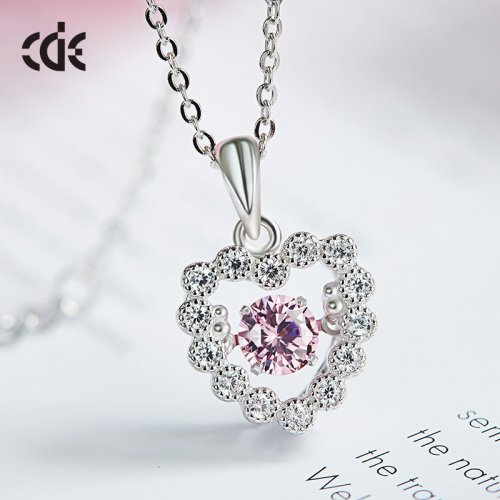 Dancing Stone | S925 Sterling Silver Rose Shining Heart Sparkle Pendant Necklace