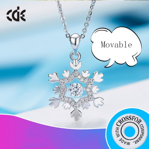 Dancing Stone | S925 Sterling Silver Sparkle Snowflake Pendant Necklace