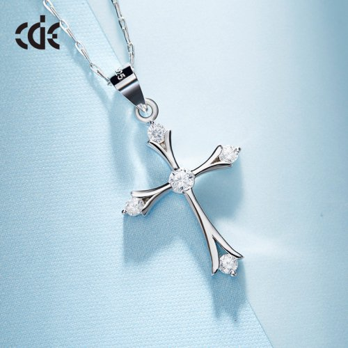 925 Sterling Silver Crystal Cross Pendant Necklace