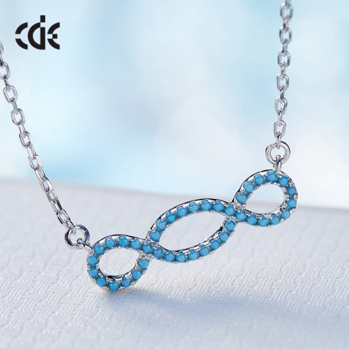 Crystals From Swarovski® | S925 Sterling Silver Turquoise Crystal Eternity Pendant Necklace