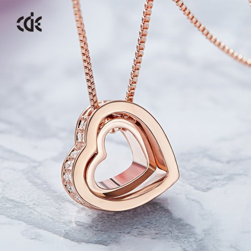 Crystals From Swarovski® | Rose Gold Heart Pendant Necklace