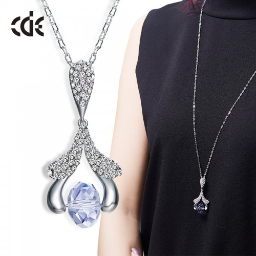 Crystals From Swarovski® | Long Crystal Pendant Sweater Pendant Necklace