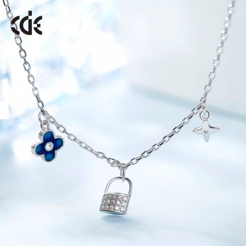925 Sterling Silver Clover, Lock And Star Crystal Charms Necklace