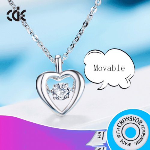 Dancing Stone | S925 Sterling Silver Dancing Sparkle Heart Pendant Necklace