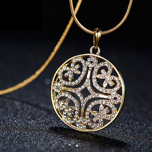 Crystals From Swarovski® | 18K Gold-Plated Crystal Circle Pendant Necklace