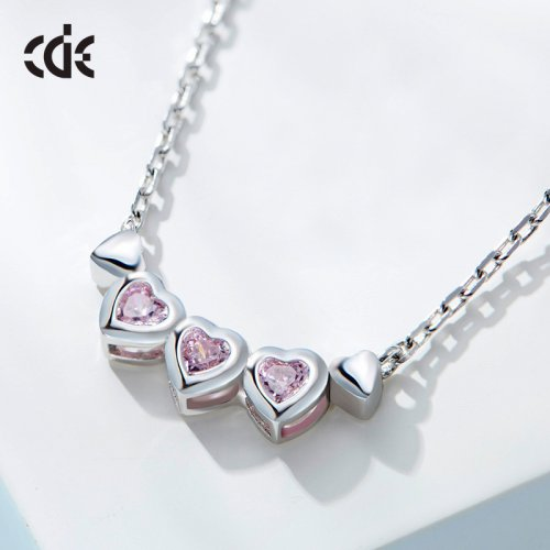 925 Sterling Silver Heart To Heart Crystal Pendant Necklace