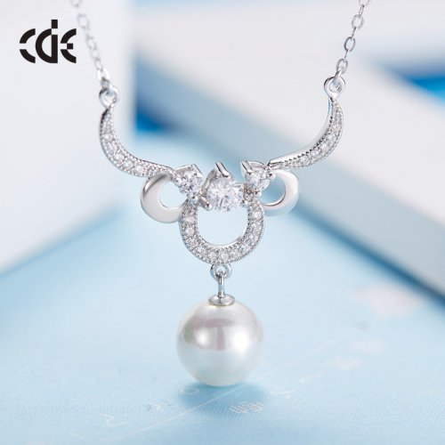 S925 Sterling Silver Natural Pearl Pendant Necklace
