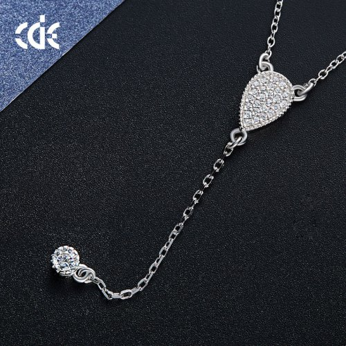 925 Sterling Silver Drop Pendant Lariat Necklace