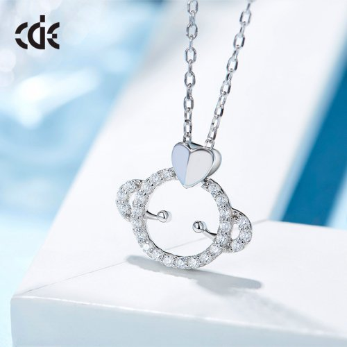 925 Sterling Silver Little Monkey Crystal Pendant Necklace